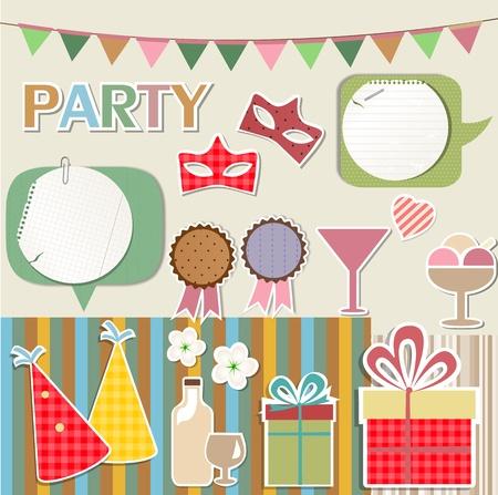 Party design elements for scrapbook Vector