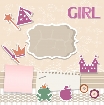 Scrapbook card for baby Illustration