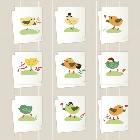 Set of cartoon cards Vector
