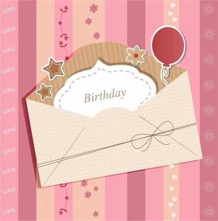old envelope: Greeting card with envelope Illustration