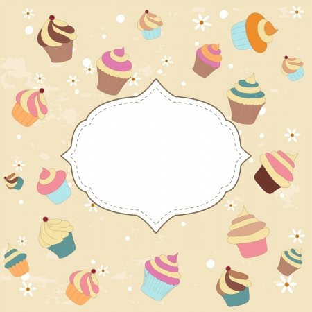 Cupcake card Stock Vector - 13786429