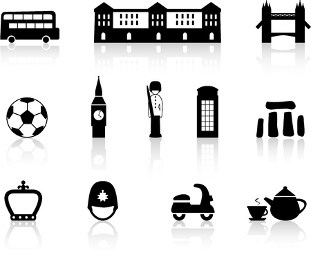 English culture icons Stock Vector - 13861592