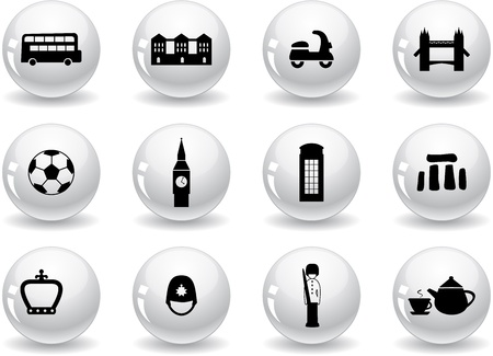 english culture: Web buttons, English culture icons Illustration