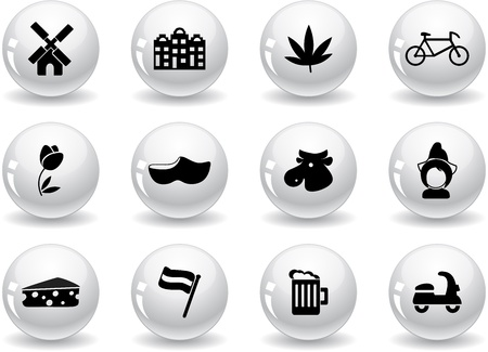 Web buttons, Dutch culture icons Stock Vector - 13874147