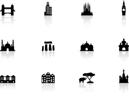 Landmark icons Illustration