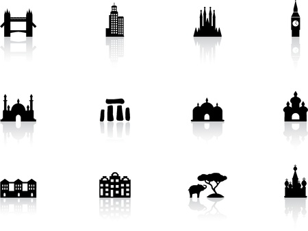 barcelona spain: Landmark icons Illustration