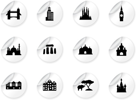 Stickers with landmark icons Stock Vector - 13874144