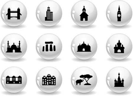 Web buttons, landmark icons Stock Vector - 13914051