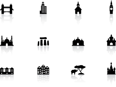 famous paintings: Web buttons, landmark icons Illustration