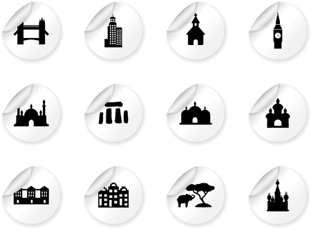 Stickers with landmark icons Stock Vector - 13914050