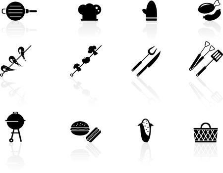 tongs: Iconos Asar a la parrilla Vectores