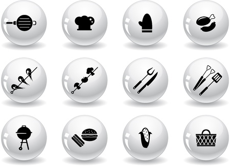 charcoal grill: Web buttons, grilling icons Illustration
