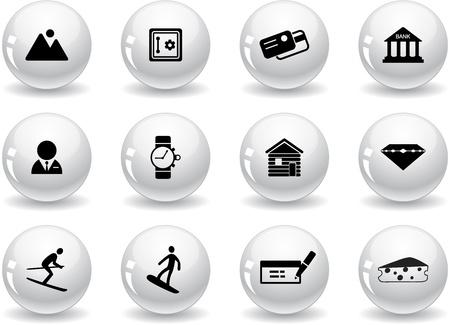 alpes suizos: Botones de Web, s�mbolos Suiza Vectores