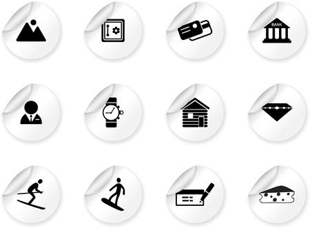 Stickers with Switzerland symbols Vector