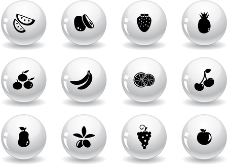 Web buttons, fruits icons Vector