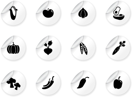 beets: Stickers with vegetables icons Illustration