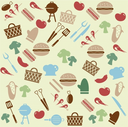 tongs: Barbeque pattern Illustration