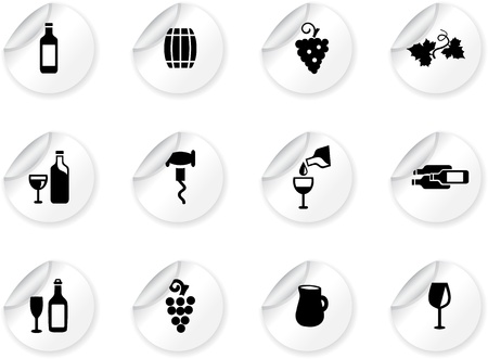 Stickers with wine icons Stock Vector - 14295533