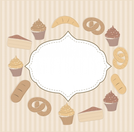Card with cupcakes and other sweet food Stock Vector - 14295538