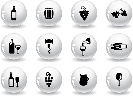 Web buttons, wine icons Vector