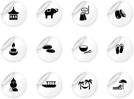 Stickers with thai icons Vector