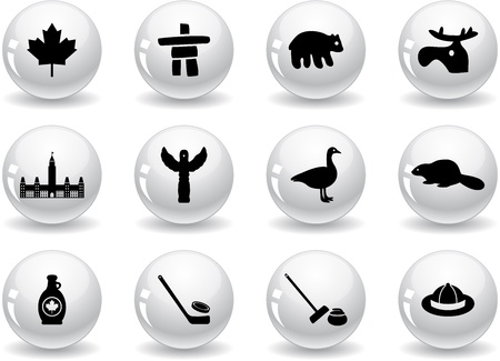 curling stone: Web buttons, Canada symbols Illustration