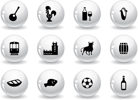 Web buttons, portuguese icons Stock Vector - 14478755