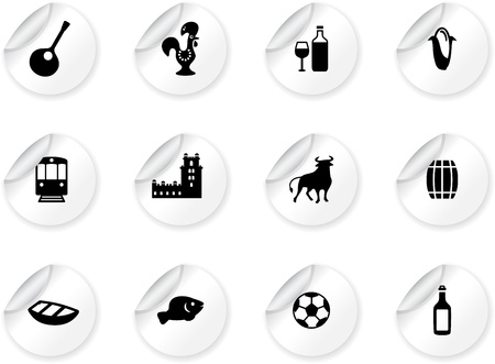 belem: Stickers with portuguese icons Illustration