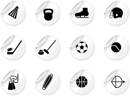 curling stone: Stickers with sport equipment icons Illustration