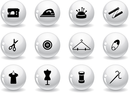 Web buttons, sewing symbols