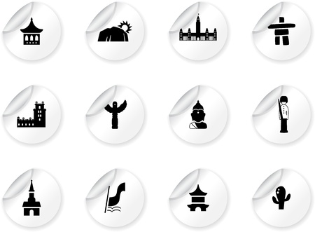 belem: Stickers with landmarks and cultures icons Illustration
