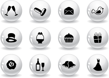 Web buttons, wedding icons Vector