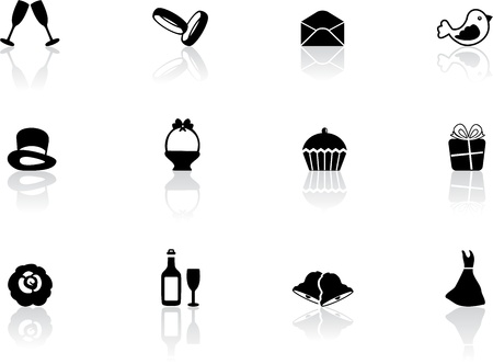 wedding cake illustration: Wedding icons Illustration