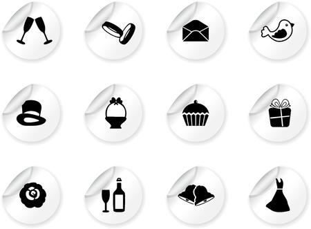 campanas: Pegatinas con iconos de boda