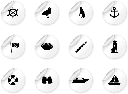 Stickers with seaside icons Vector
