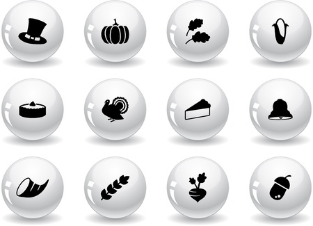 Web buttons, thanksgiving icons Vector