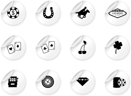 scroll wheel: Stickers with Las Vegas icons Illustration