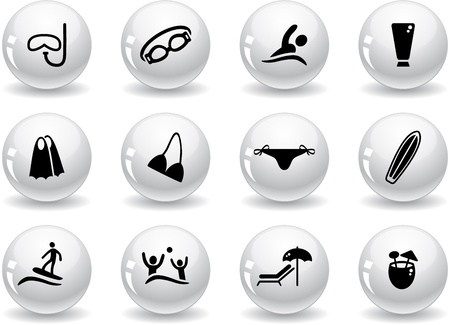 Web buttons, beach icons Vector