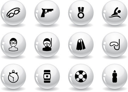 swimming goggles: Web buttons, swimming icons