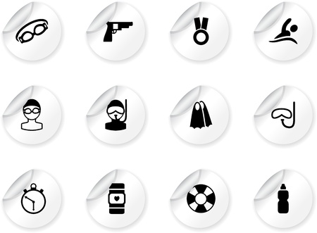 swimming goggles: Stickers with swimming icons