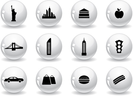Web buttons, New York symbols Vector