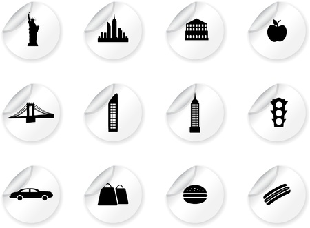 Stickers with New York symbols Vector