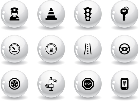 Web buttons, traffic and driving icons Vector