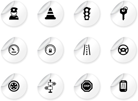 Stickers with traffic and driving icons Vector