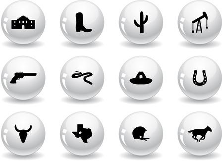 rodeo americano: Botones, iconos Web de Texas Vectores