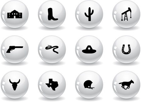 american football helmet set: Web buttons, Texas icons Illustration