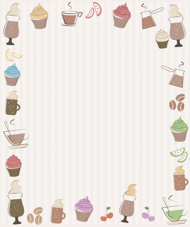 Frame with coffee and cupcakes symbols Vector