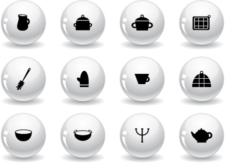 Web buttons, kitchen symbols Stock Vector - 14801467