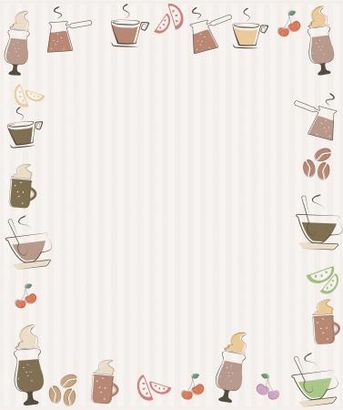 milk tea: Frame with coffee symbols