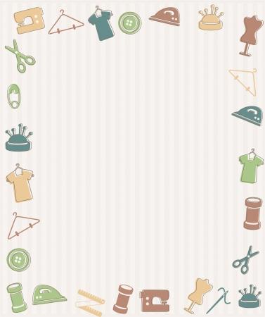 machine a coudre: Cadre avec des symboles � coudre Illustration